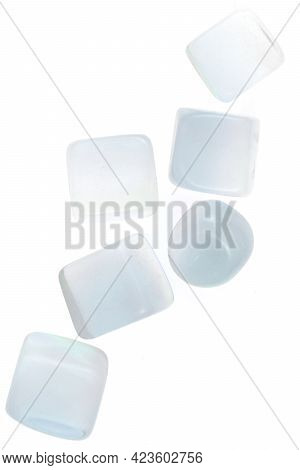 Opal Heap Jewel Stones Texture On White Light Isolated Background