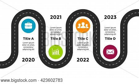 Business Roadmap Vector Infographic. Presentation Slide Template. Circle Road With4 Steps, Options.