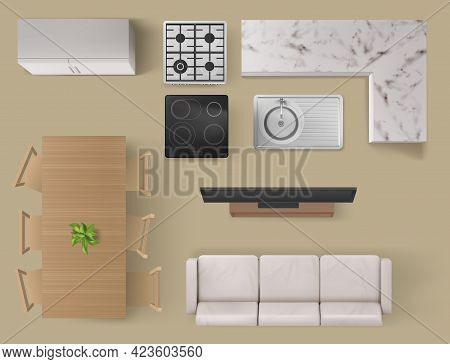 Interior Items Top View, Living Room And Kitchen Furniture And Technics Sofa, Tv And Table With Chai