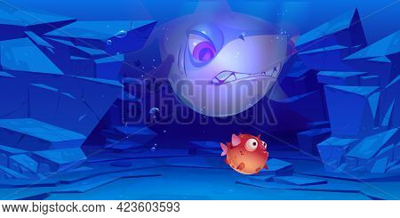 Shark And Puffer Fish In Sea Or Ocean Bottom With Rocks Around. Underwater Characters With Cute And