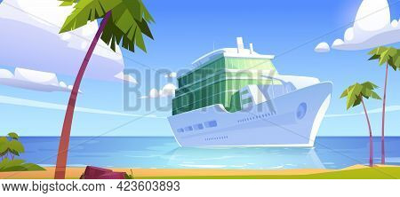 Cruise Liner In Ocean, Modern White Ship, Luxury Sailboat Moored In Sea Harbor Tropical Island With