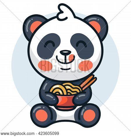 Vector Illustration Of  Cute Panda Eating Noodle Ramen