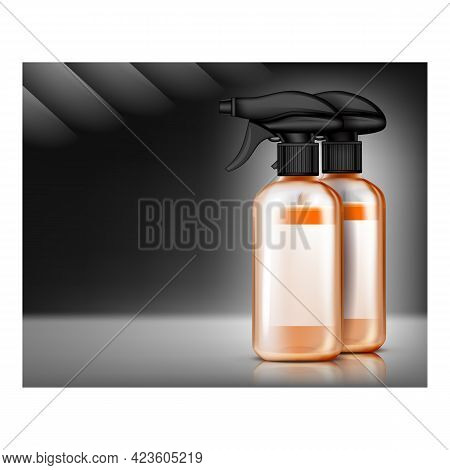 Cleaner And Fungicide Promotional Banner Vector. Cleaner And Disinfectant Blank Packages Spray For W