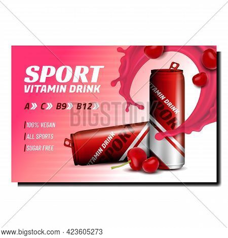 Sport Vitamin Drink Promotional Poster Vector. Vitamin Drink With Cherry Berry Taste Blank Packages,