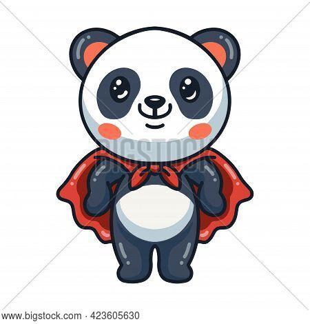 Vector Illustration Of Cute Panda Super Hero Cartoon