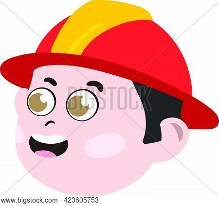Cute Kid Face. Cute And Adorable White Kid With Dressed As Fire Fighter. Cute Face With Red Fire Fig