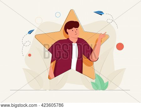 Top Talent Or Best Professional Skills Employee With Star Tiny Person Concept. Unique And Successful