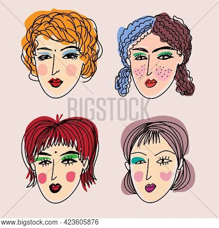 Bright Women  Portraits Set  Doodle Portraits Of Fashionable Girls , Avatars For Social Networks, We
