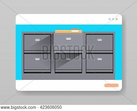 Electronic File Archives Digital Cabinet In Web Browser Window Organization Service Concept