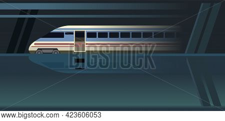 High-speed Train Suburban And Urban Underground Transport. Railway With A Locomotive. Station Metro.