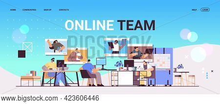 Businesspeople Discussing With Colleagues In Web Browser Windows During Video Call Virtual Conferenc