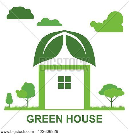 Green House Icon. The Eco-friendly House. Vector Illustration. Vector.