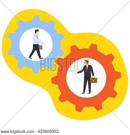 Interaction Between People. Two Businessmen Inside Gears Interacting. Vector Illustration. Vector.