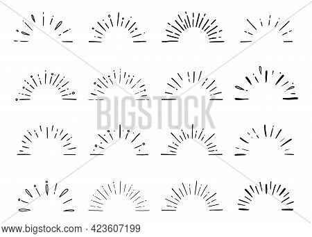 Half Starburst, Sun Spark Ray, Sunshine Set. Hand Drawn Doodle Sketch Style. Vector Illustration.
