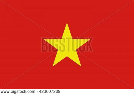 National Flag Of The Country Of Vietnam. Flag Of The Socialist Republic Of Cuba. State Symbol. Natio