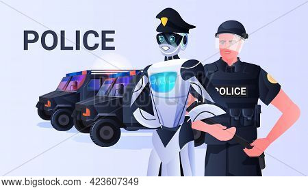 Robot Cop With Patrol Man Riot Police In Uniform Standing Together Artificial Intelligence Technolog
