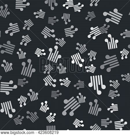 Grey Wind Icon Isolated Seamless Pattern On Black Background. Windy Weather. Vector Illustration