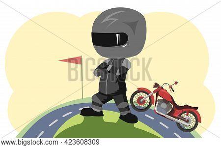 Biker Cartoon. Child Illustration. Sports Uniform And Helmet. End Of Road. Cool Motorcycle. Chopper
