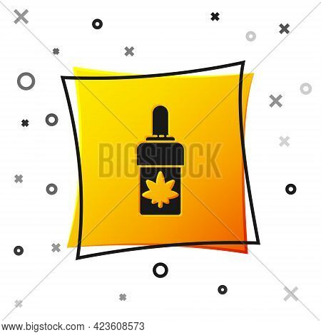 Black Medical Marijuana Or Cannabis Leaf Olive Oil Drop Icon Isolated On White Background. Cannabis