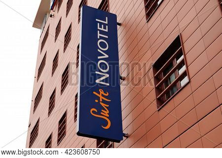 Bordeaux , Aquitaine France - 06 06 2021 : Novotel Suite Hotel Text And Sign Logo On Building Facade