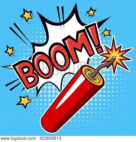 Dynamite Stick Or Firecracker With A Burning Fuse And Explosion With Text Boom On Blue Background