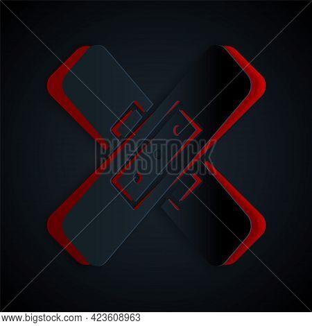 Paper Cut Crossed Bandage Plaster Icon Isolated On Black Background. Medical Plaster, Adhesive Banda