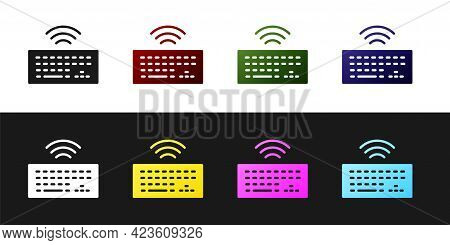 Set Wireless Computer Keyboard Icon Isolated On Black And White Background. Pc Component Sign. Inter