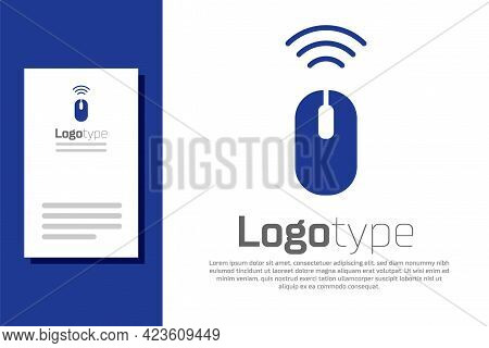 Blue Wireless Computer Mouse System Icon Isolated On White Background. Internet Of Things Concept Wi