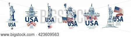 Vector Set Of Signs Of The Statue Of Liberty And The White House Of The United States