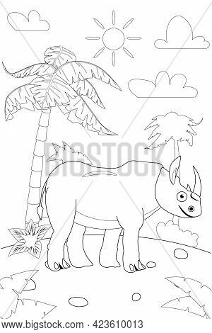 Jungle, Africa Safari Animal Camel Coloring Book Edicational Illustration For Children. Vector White