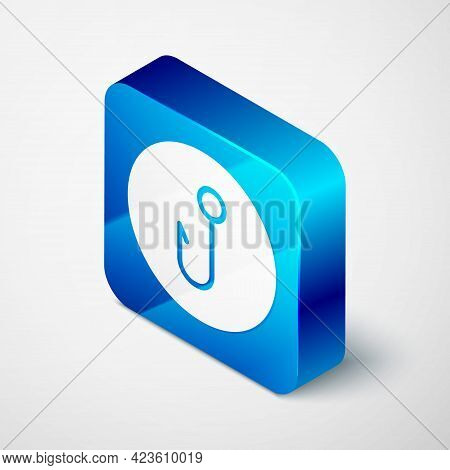 Isometric Fishing Hook Icon Isolated On Grey Background. Fishing Tackle. Blue Square Button. Vector