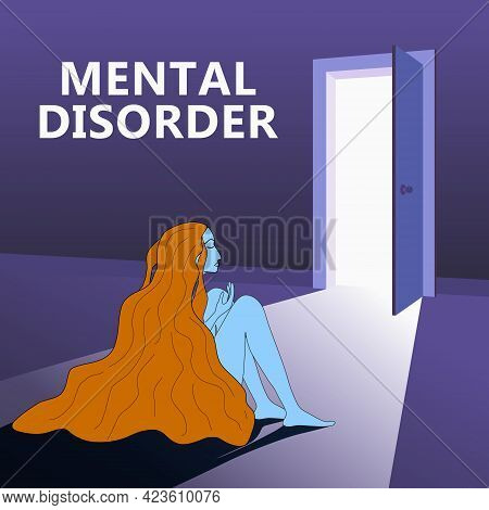 Mental Disorder Woman Sitting Hugging Knees, Open Door As A Symbol Of A Way Out. Depression, Confuse