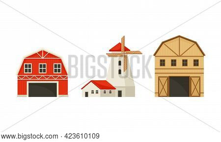 Timbered Red Barn Or Granary For Crop Storage And Windmill Vector Set