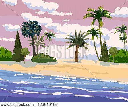 Beach Tropical Island, Palms And Plants. Coast Exotic Ocean Sea, Resort Seaside Summertime View. Vec
