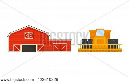 Timbered Red Barn Or Granary For Crop Storage And Heavy Machinery Equipment Vector Set
