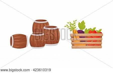 Wooden Barrel And Ripe Vegetables In Wooden Crate As Seasonal Harvesting And Yield Vector Set