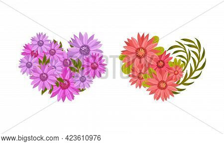 Floral Blooming Heart Shape With Fragrant Blossom And Foliage Vector Set