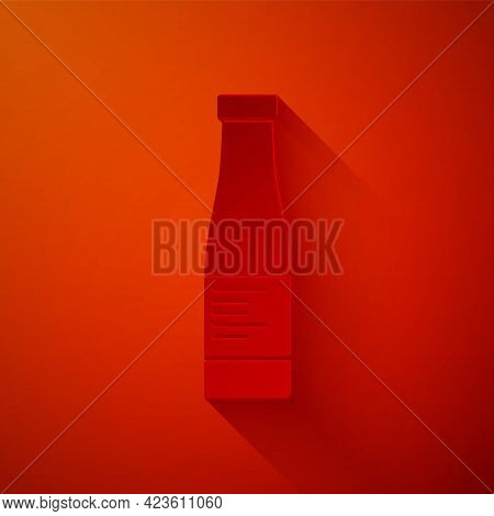 Paper Cut Sauce Bottle Icon Isolated On Red Background. Ketchup, Mustard And Mayonnaise Bottles With