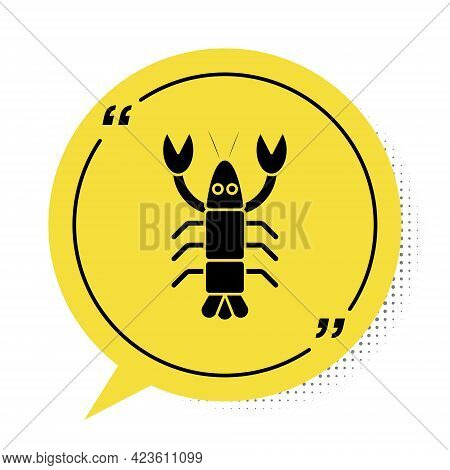 Black Lobster Icon Isolated On White Background. Yellow Speech Bubble Symbol. Vector.