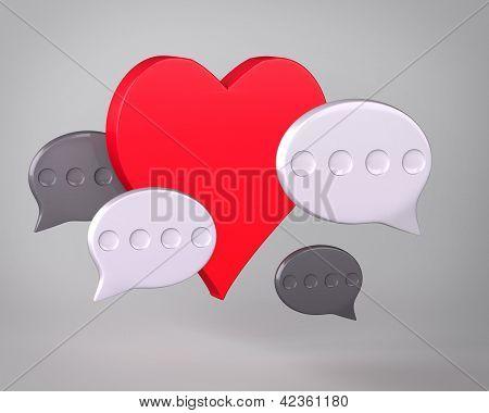 Heart and speech bubbles