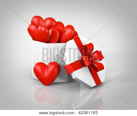 Gift boxes with hearts