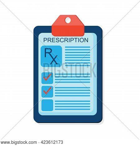 Rx Medical Prescription Drug Vector Illustration. Doctors And Pills. Vector Rx Prescription. Vector