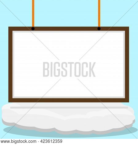 Vector Illustration Of Blank Banner Whiteboard On Clouds And Blue Color Background
