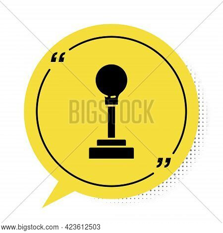 Black Gear Shifter Icon Isolated On White Background. Manual Transmission Icon. Yellow Speech Bubble