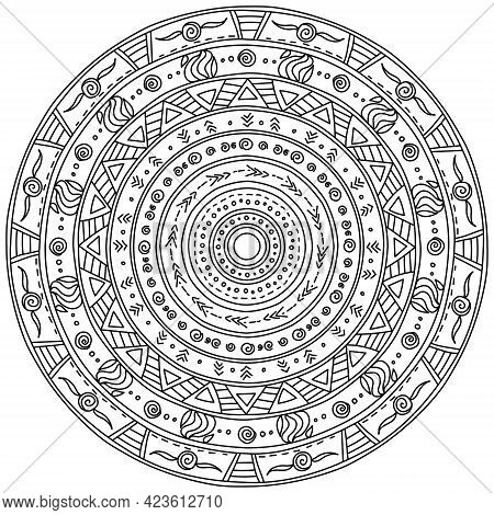 Outline Mandala Of Several Layers With Various Simple Patterns, Meditative Coloring Page With Simple