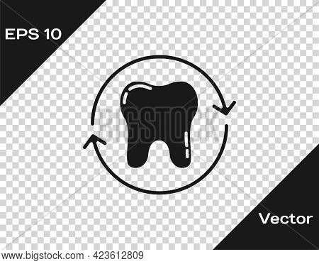 Black Tooth Whitening Concept Icon Isolated On Transparent Background. Tooth Symbol For Dentistry Cl