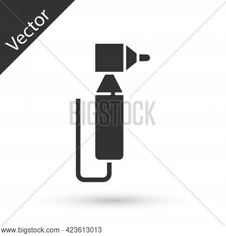 Grey Tooth Drill Icon Isolated On White Background. Dental Handpiece For Drilling And Grinding Tools