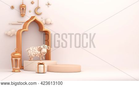 Eid Al Adha Islamic Decoration Display Podium Background With Goat Sheep Lantern Crescent Arabic Win