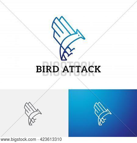 Eagle Hawk Falcon Bird Attack Pounce Prey Line Logo
