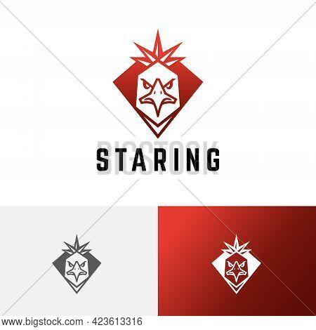 Eagle Hawk Falcon Red Star Crown Shield Logo